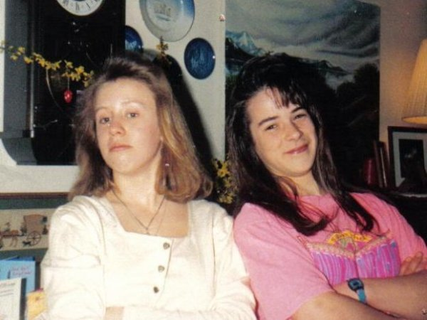 Rebecca and I in our ill-advised Jersey Girl phase. Before I was a rock dork, I dabbled in hair-chickdom.