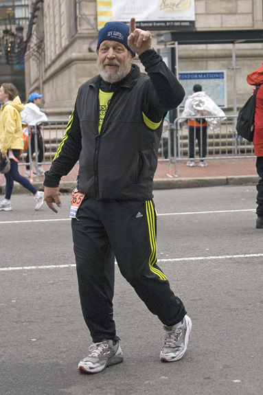 Bud Morton completing the Boston Marathon in 2007